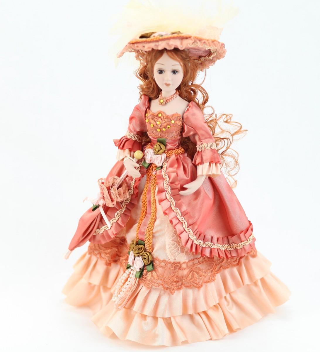 Фарфоровая кукла, ручной работы. В Викторианском стиле. Съемная подставка. В подарочной упаковке, 25 см на peresvet.by