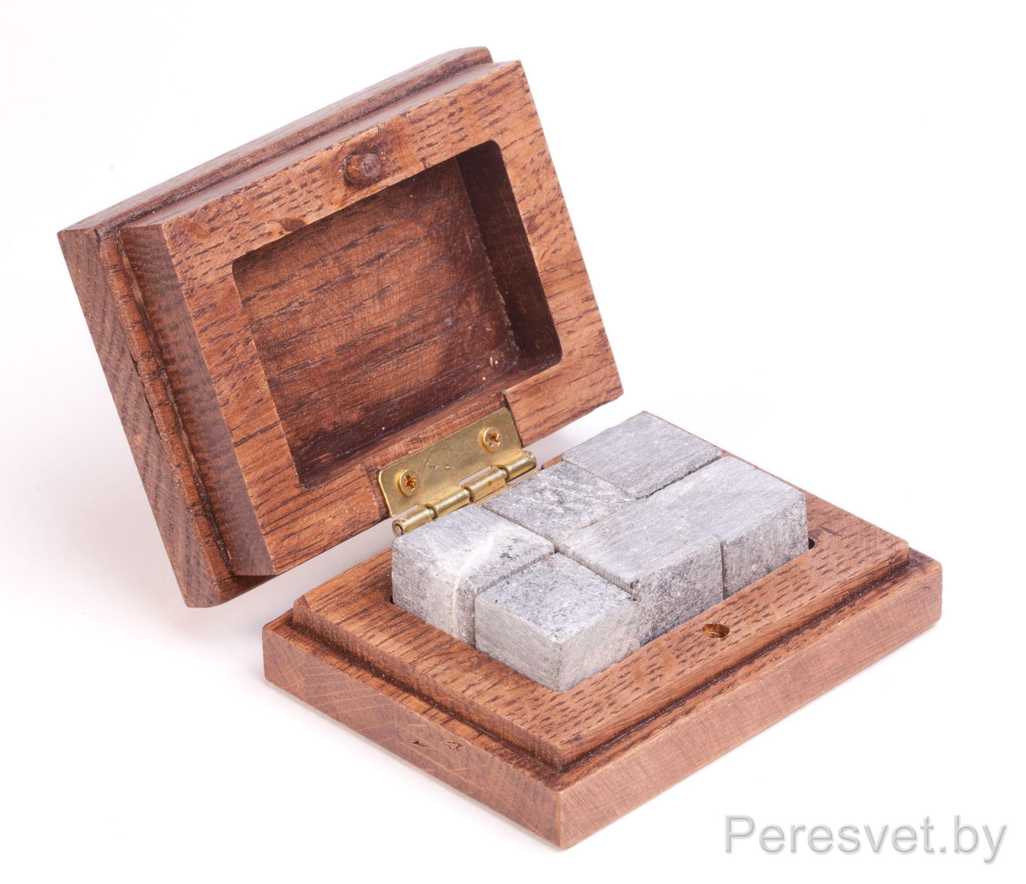 Кубики для охлаждения виски 6шт в Дубовой шкатулке Карельский ледник на peresvet.by