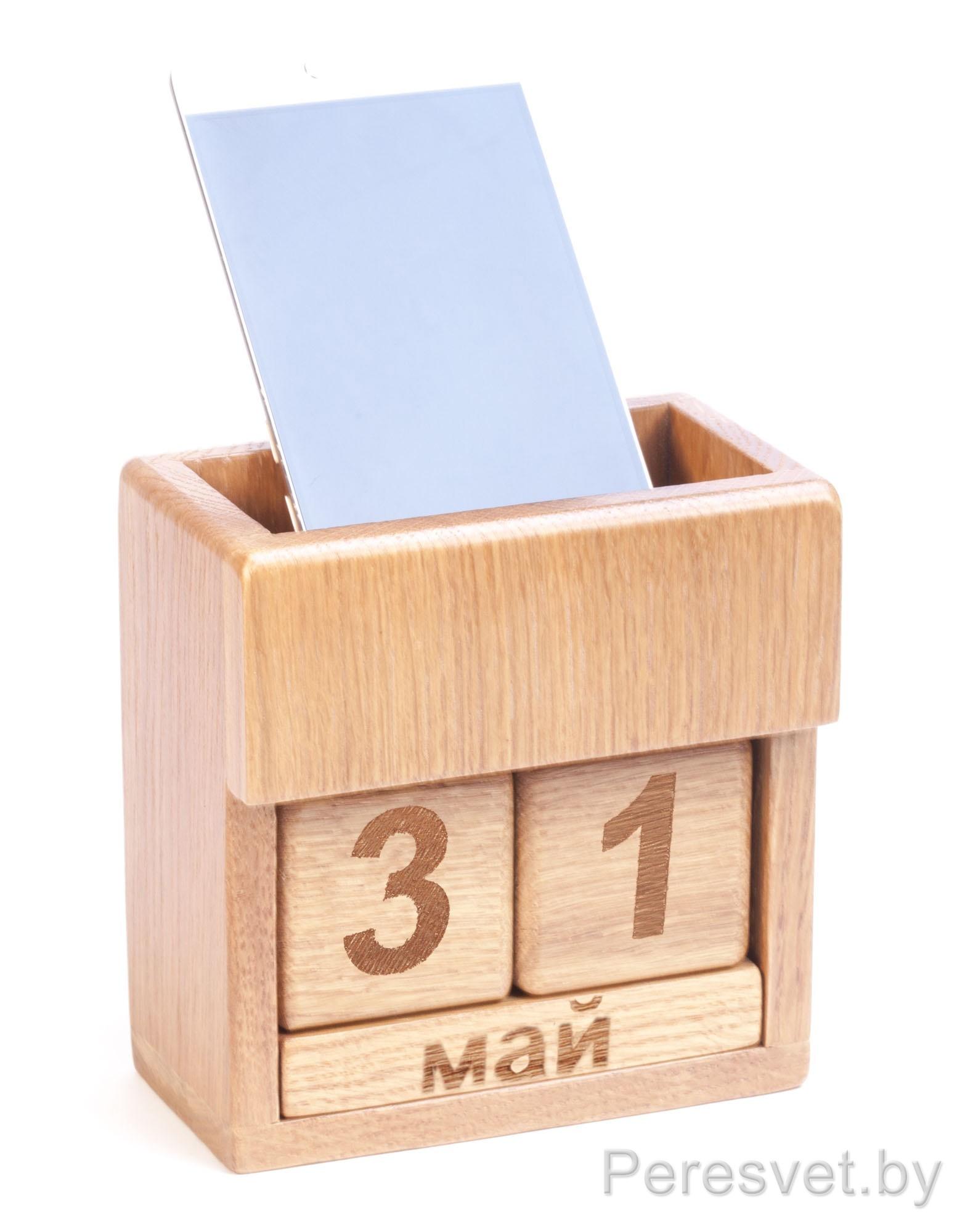 Вечный календарь из дуба с подставкой опт на peresvet.by