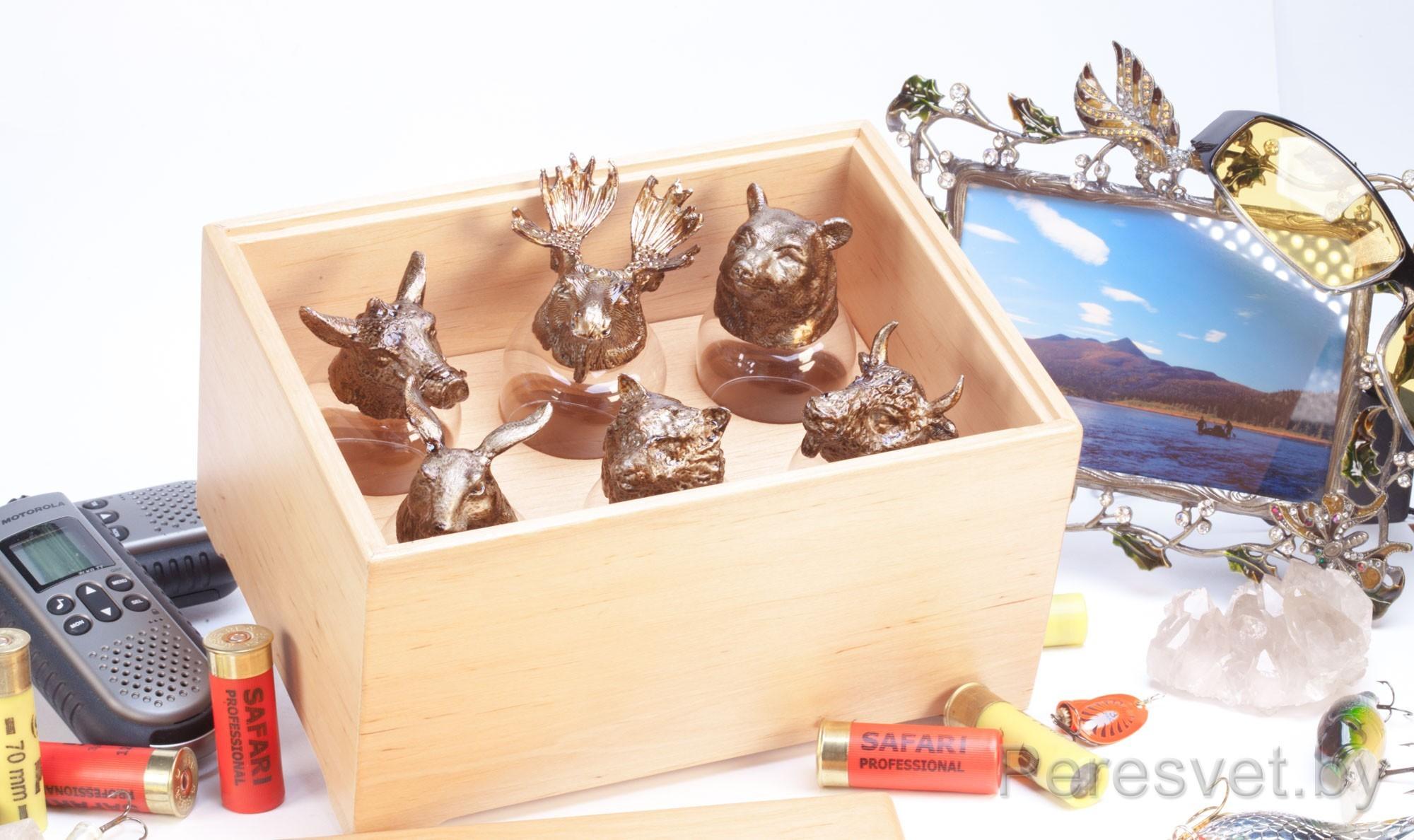 Рюмки перевертыши подарочный набор Охотничьи трофеи Ольха №5