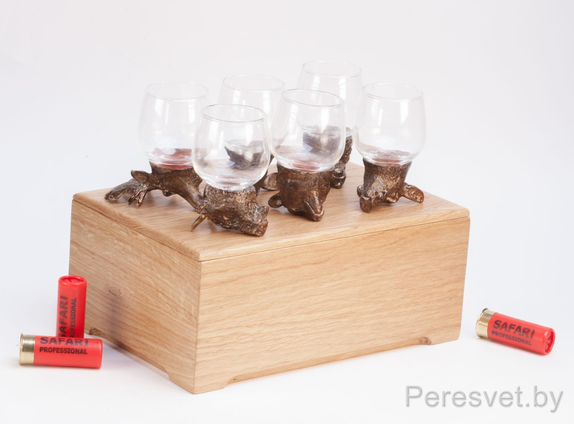 Рюмки перевертыши подарочный набор Охотничьи трофеи дуб №4 на peresvet.by
