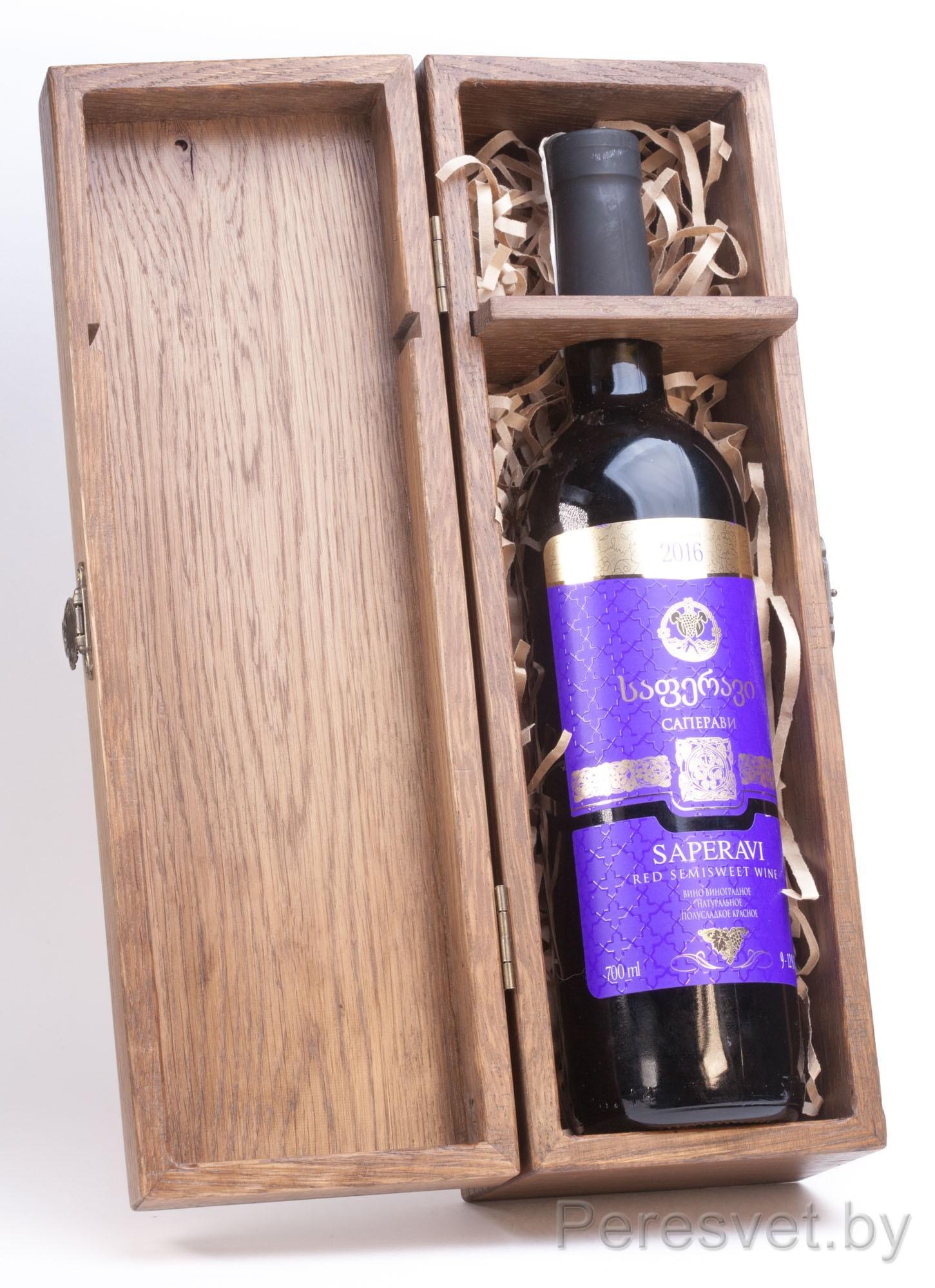 Упаковка подарочная для бутылки Wood box bottle массив дуба на peresvet.by