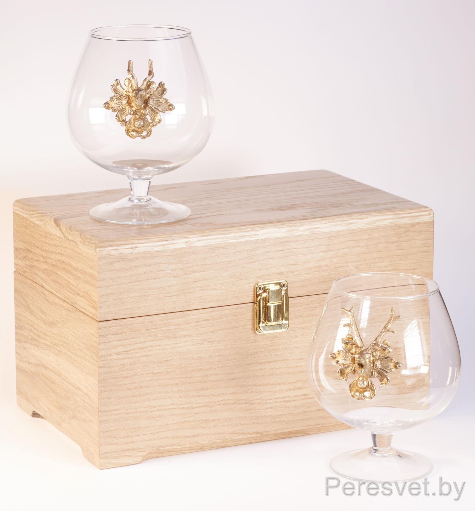 Подарочный набор бокалов для вина в дубовой упаковке Князь Бронза на peresvet.by
