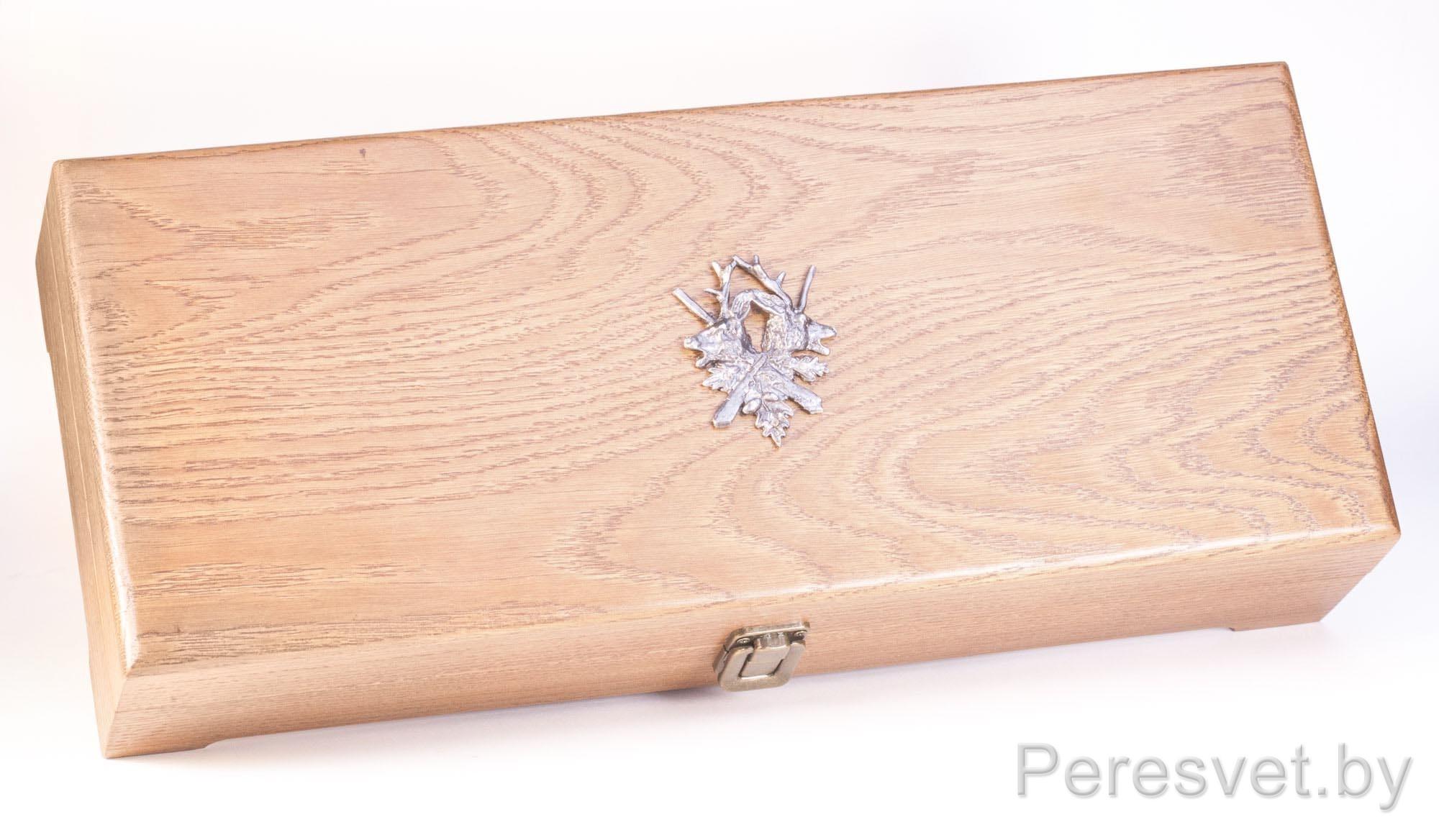 Рюмки подарочный набор в дубовой упаковке Царская охота бронза на peresvet.by