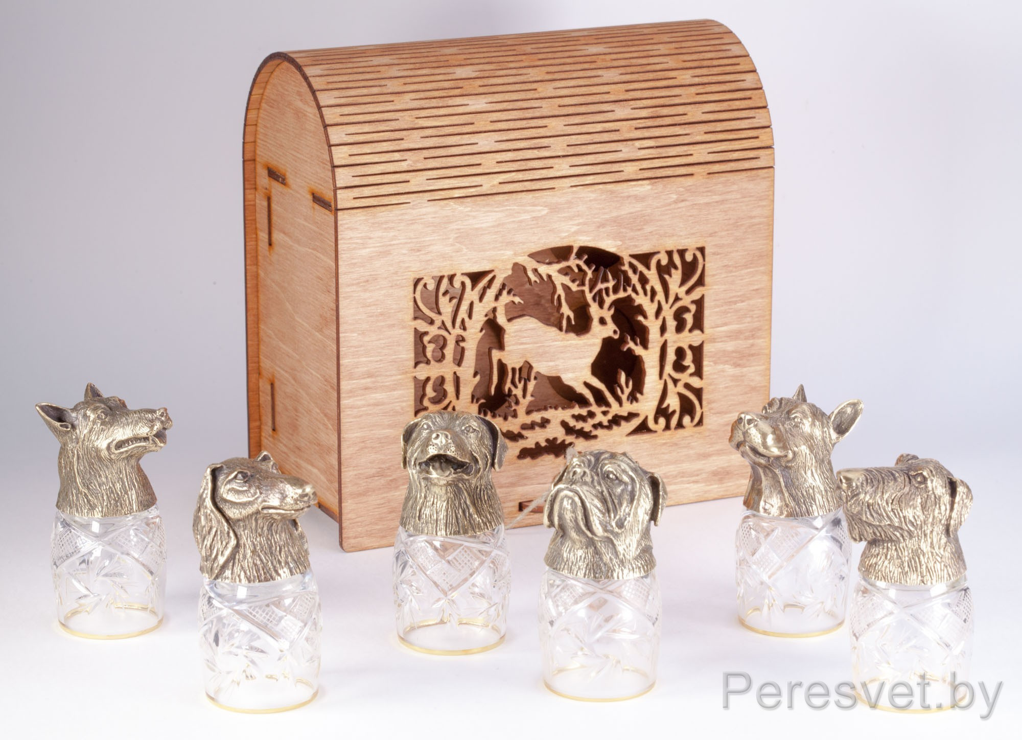 Сундук рюмок с головами животных хрусталь Мангеймское золото на peresvet.by