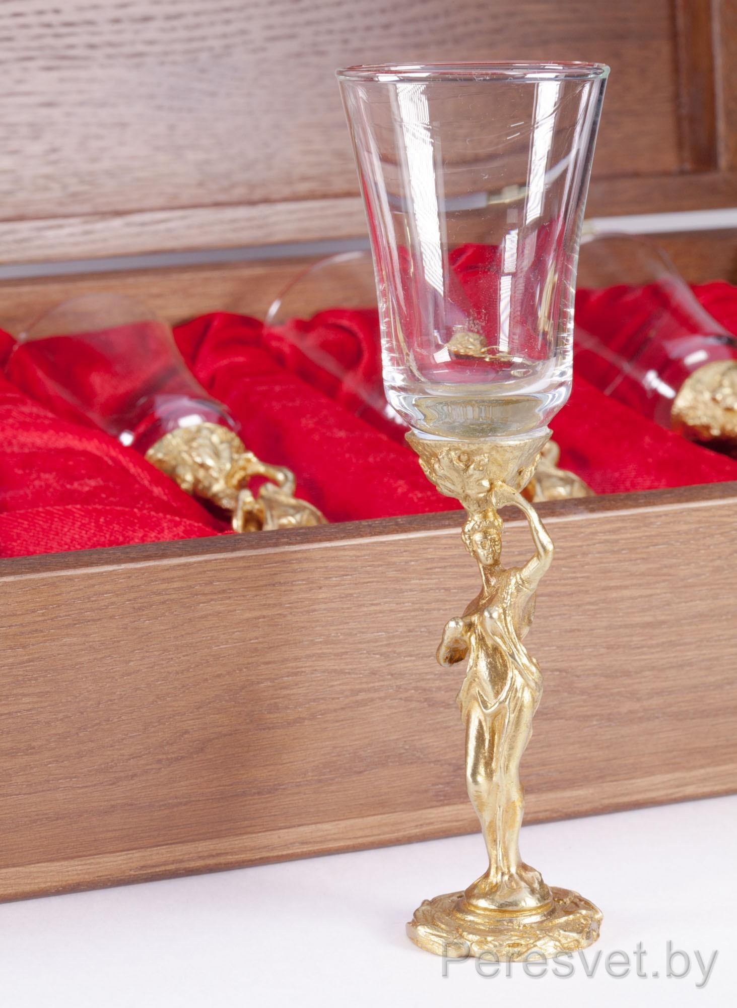 Подарочный набор стопок в дубовой упаковке Афродита бронза на peresvet.by