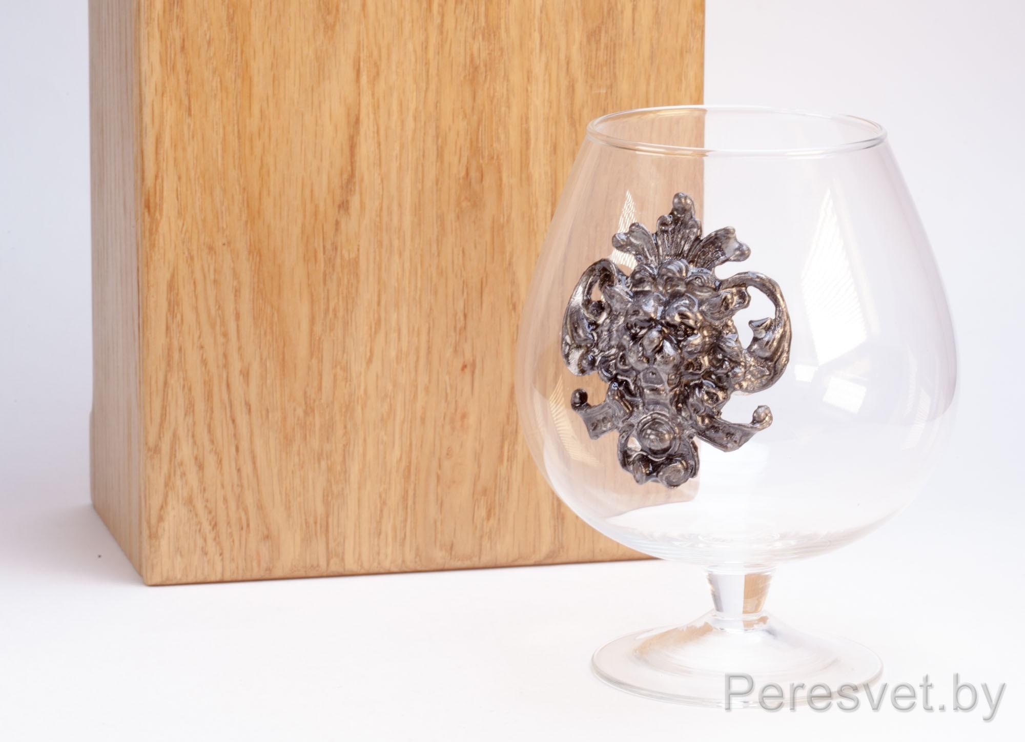 Подарочный набор бокалов для вина с художественным литьем Бронза