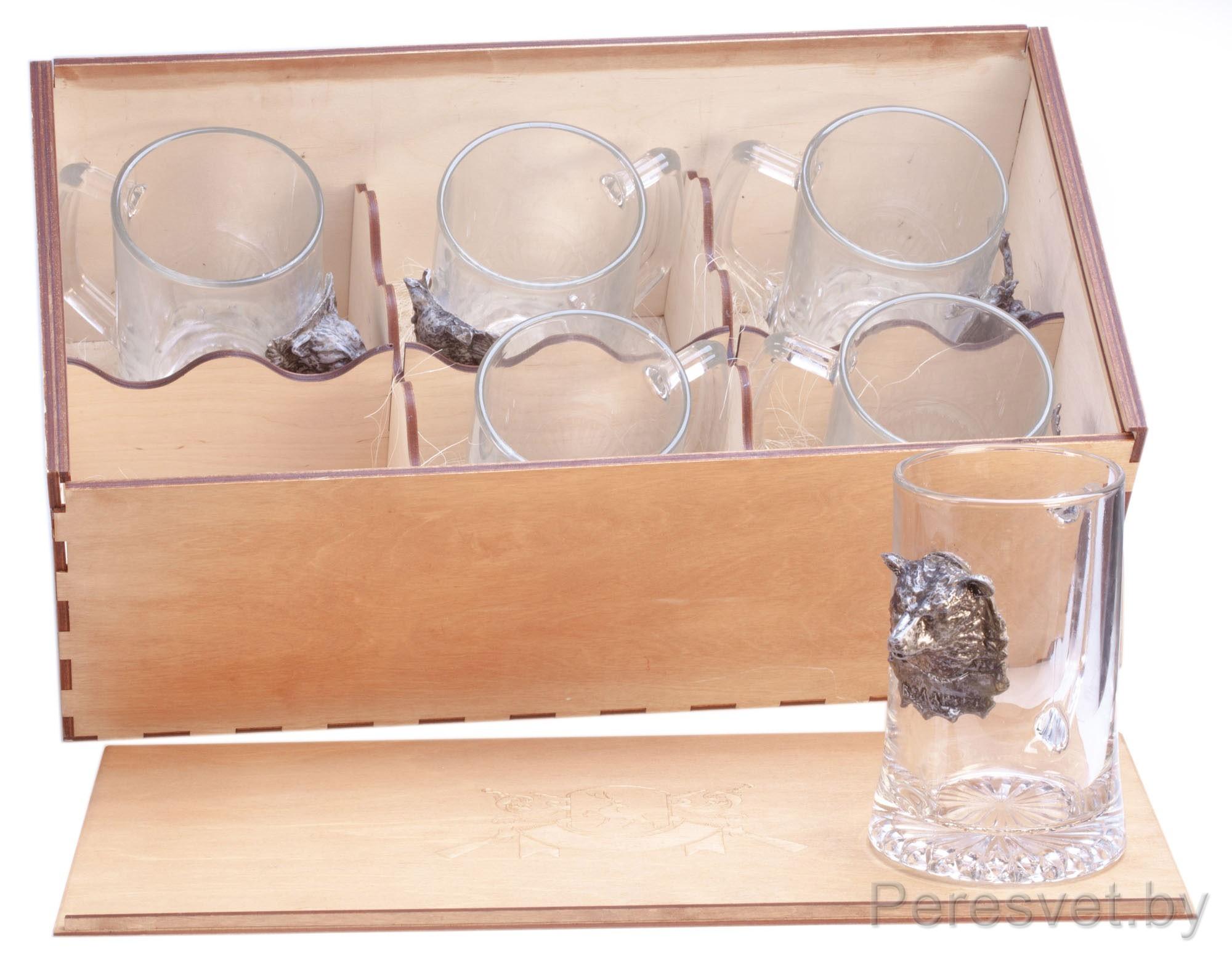 Набор бокалов для пива с художественным литьем из охотничьего набора Медведь 6 шт. на peresvet.by