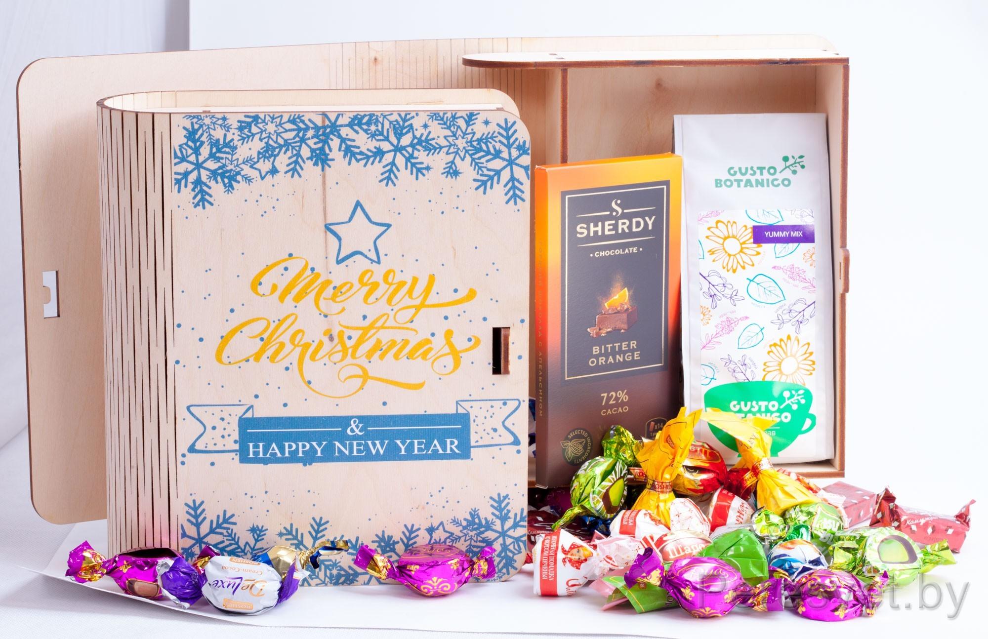Подарочные наборы Merry Christmas в деревянной упаковке для конфет на peresvet.by
