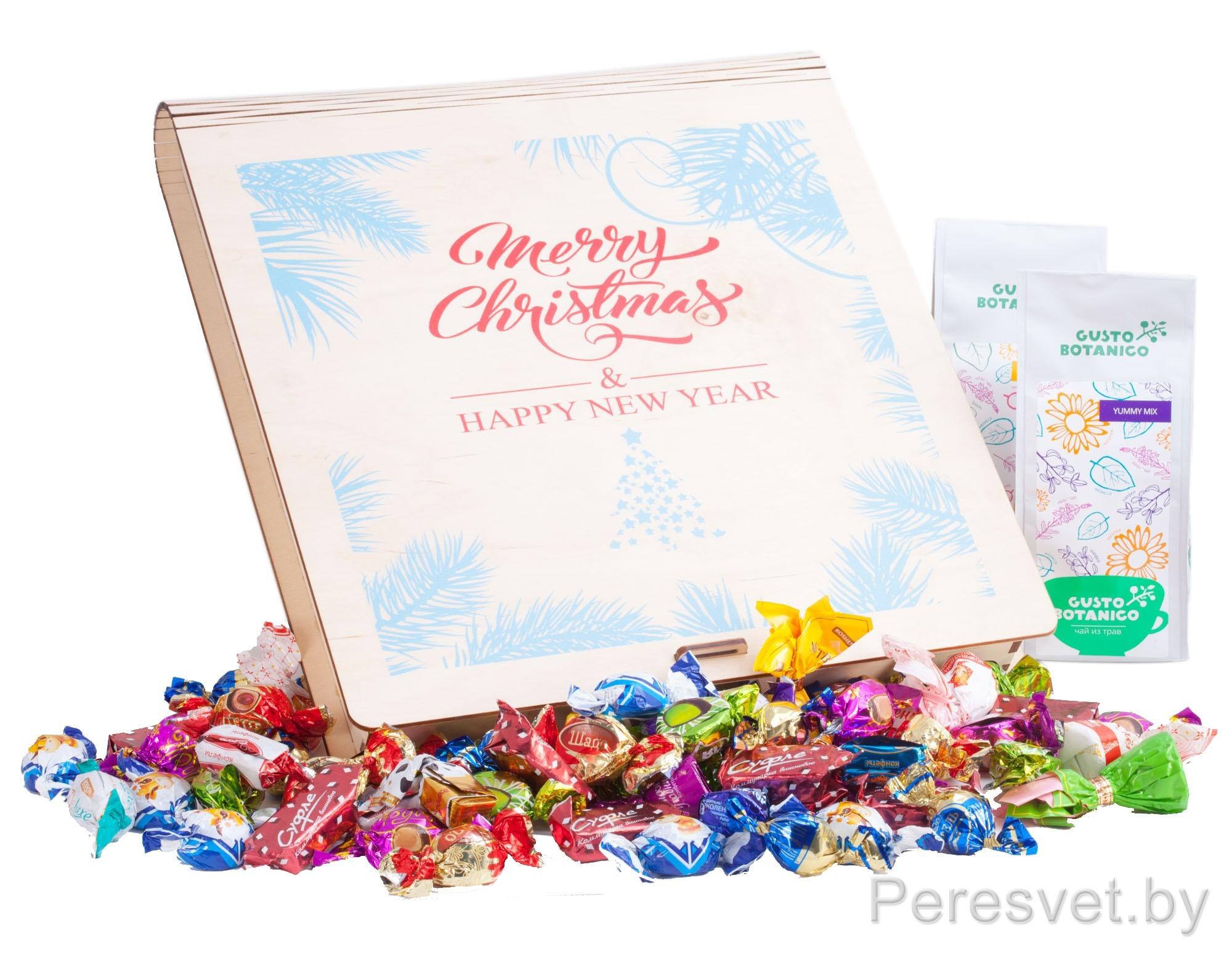 Детский новогодний подарочный набор Merry Christmas в деревянной коробке на peresvet.by