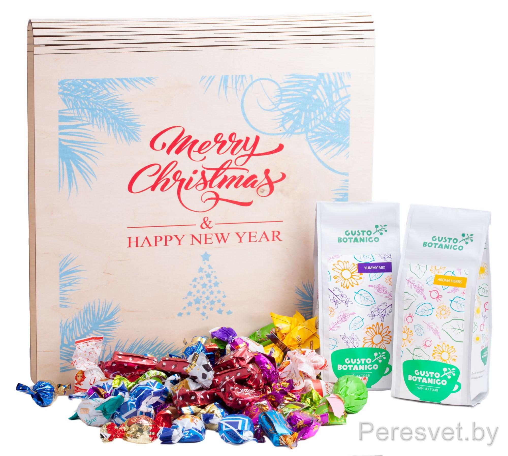 Новогодняя подарочная Merry Christmas для конфет большая на peresvet.by