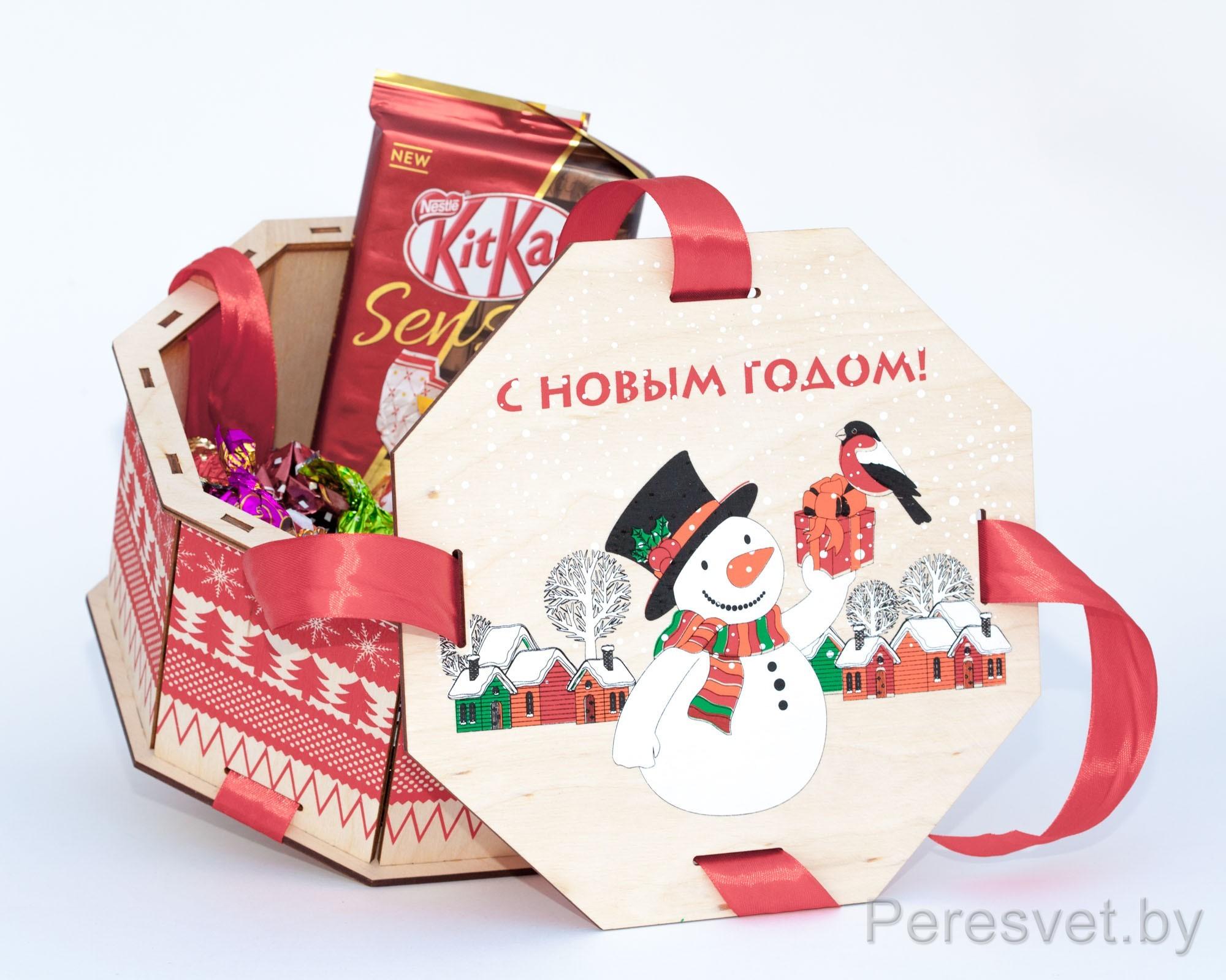 Подарочный набор С новым годом в деревянной упаковке коробке на peresvet.by