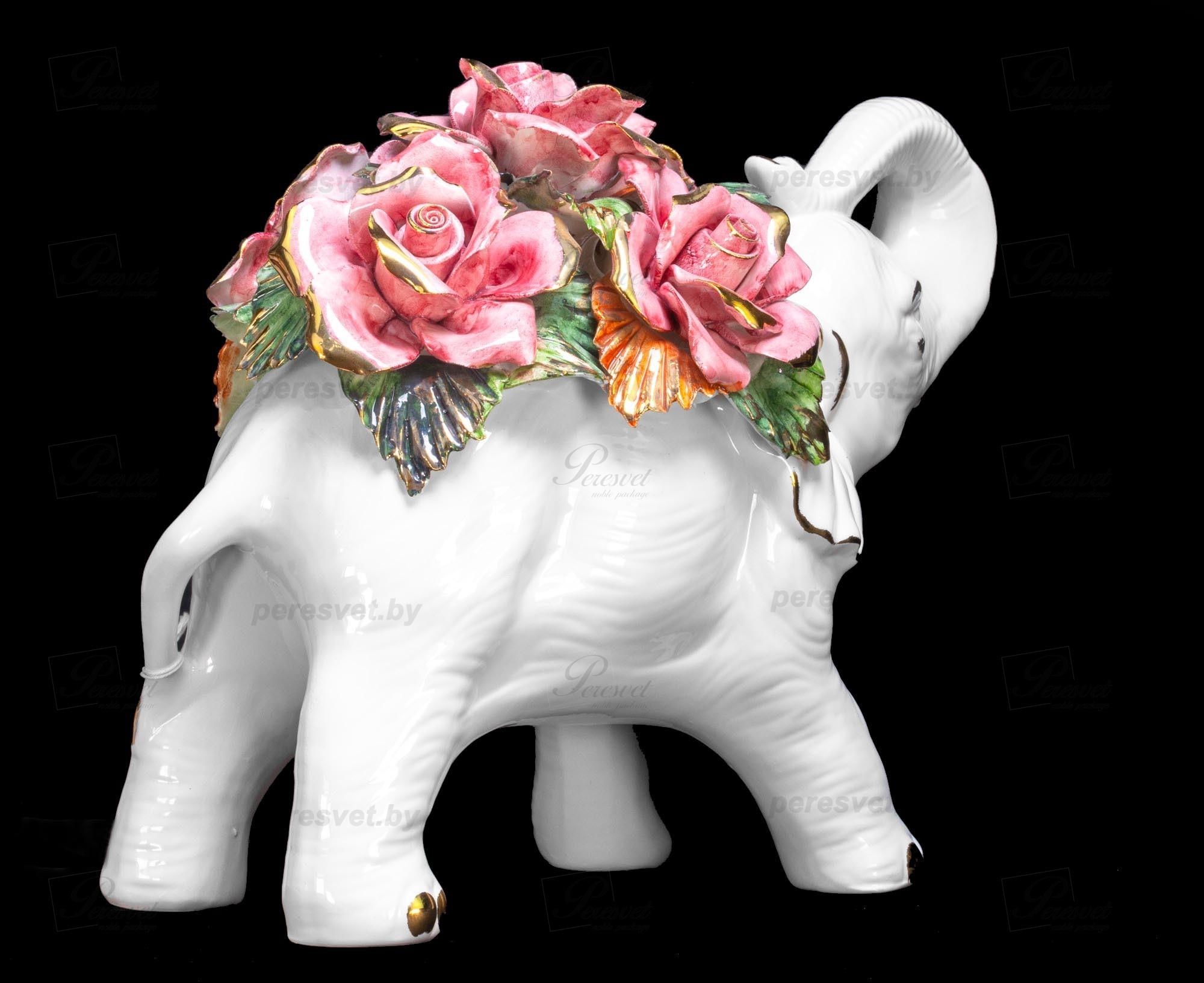 Слон с цветами Elefante императорский фарфор на peresvet.by
