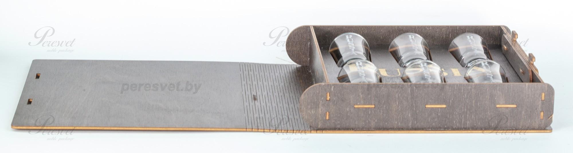 Рюмки подарочные RUSSIA в деревянной коробке с гербом на peresvet.by