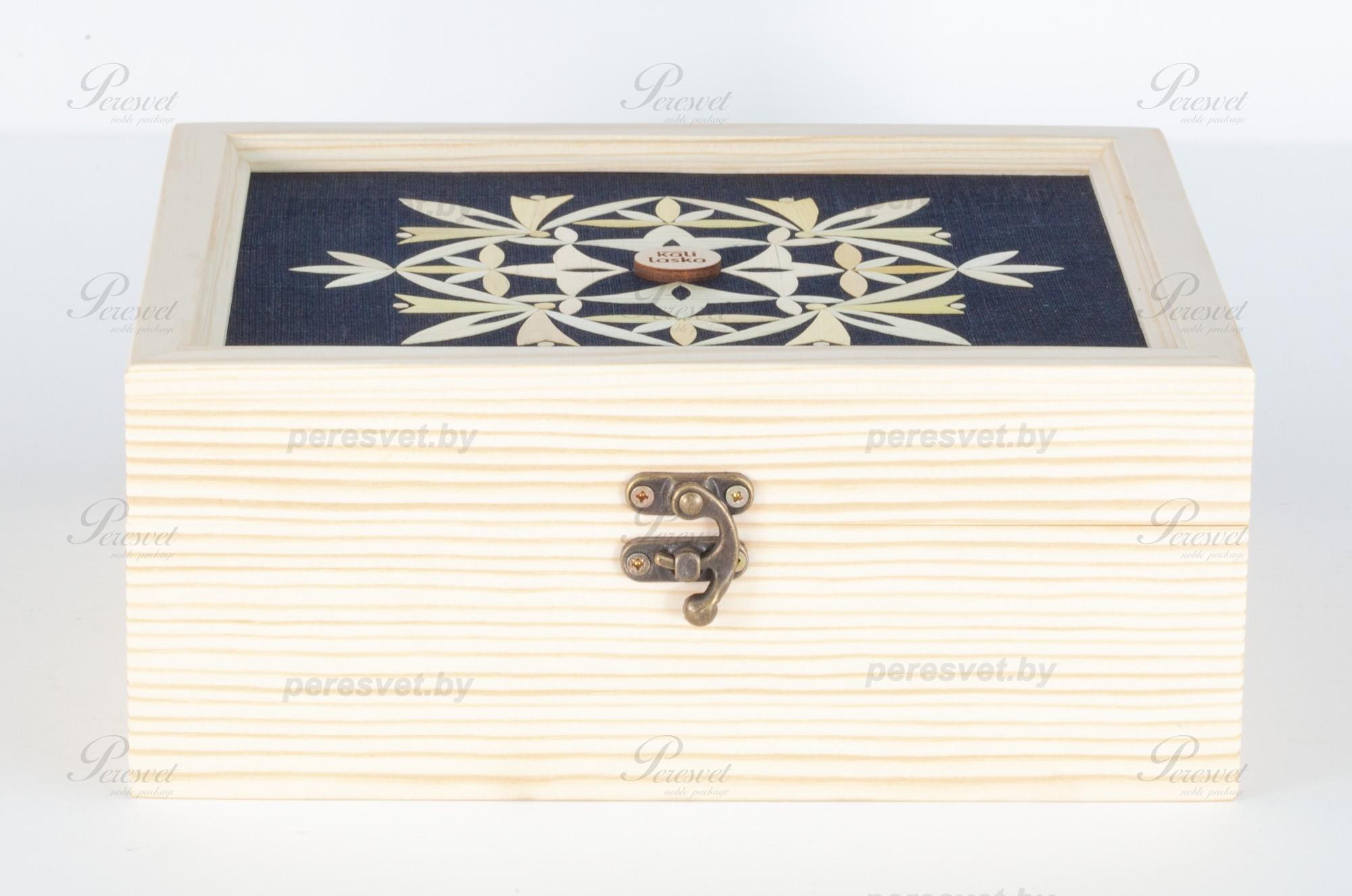 Чайная деревянная упаковка с аппликацией из саломки на peresvet.by