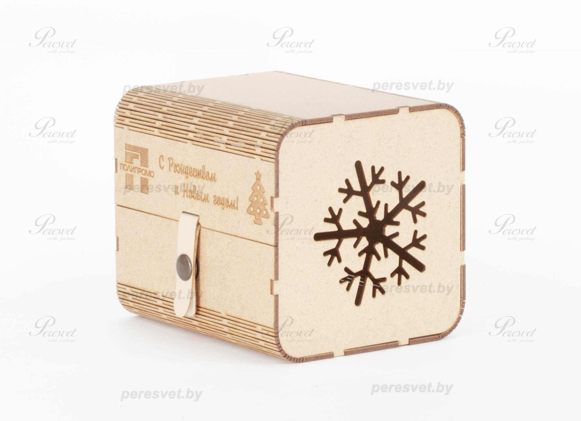 новогодняя упаковка под конфеты С Новым Годом из крафтфанеры на peresvet.by