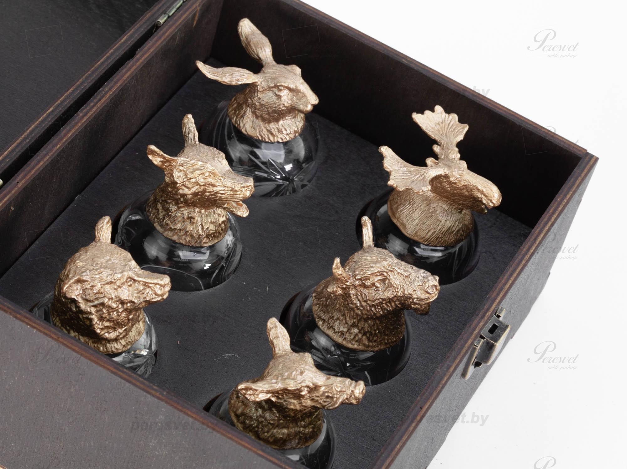 Подарочный набор рюмок перевертышей Охота в деревянной шкатулке №3 на peresvet.by