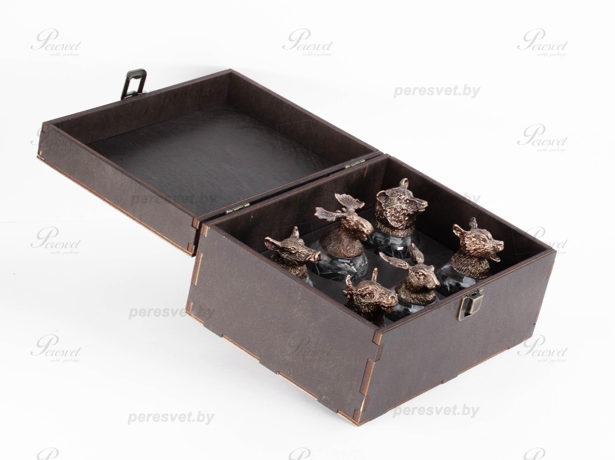 Рюмки перевертыши Охота в деревянной шкатулке №2 на peresvet.by