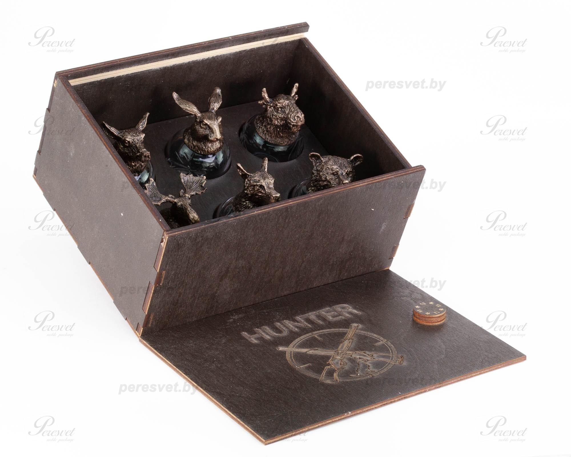 Подарочный набор рюмок перевертышей Охота в деревянном пенале №1 на peresvet.by