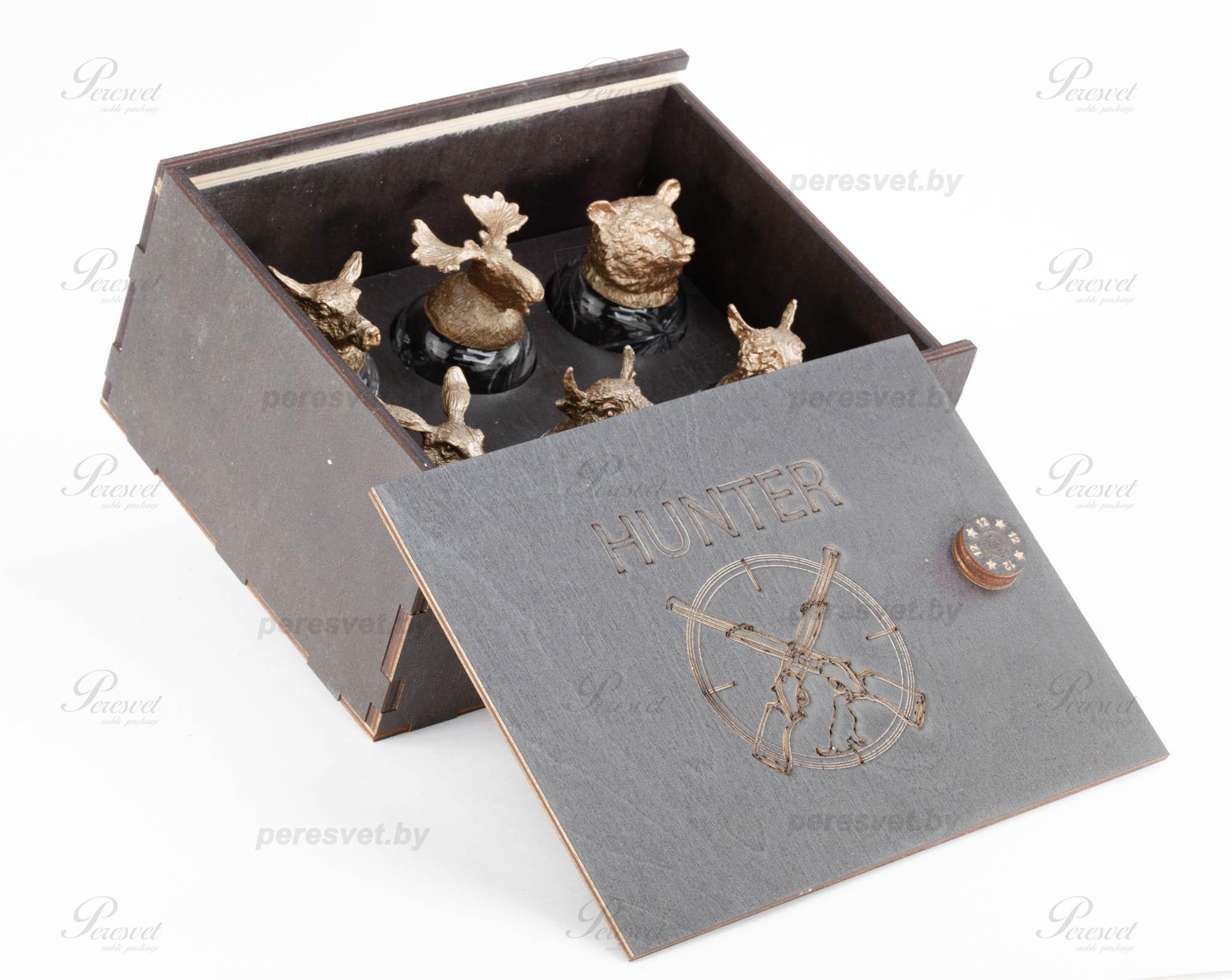 Подарочные рюмки перевертыши Охота в деревянном пенале №3 на peresvet.by