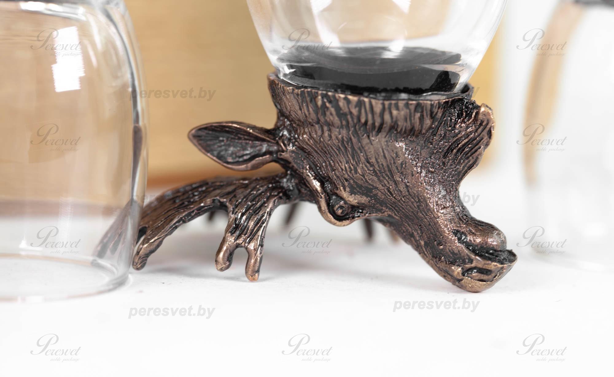 Набор рюмок перевертышей На четверых Premium бронза художественное литьё на peresvet.by