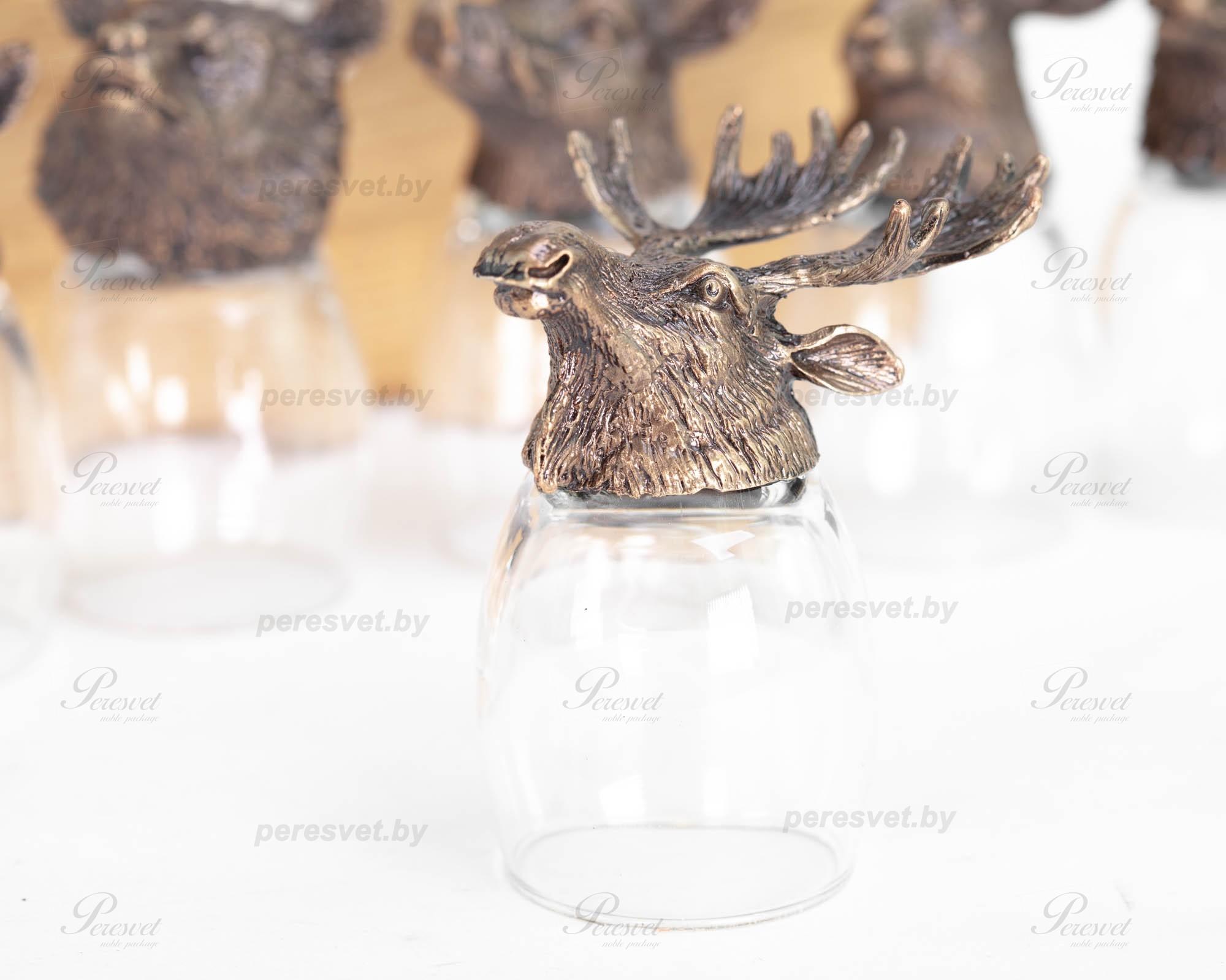 Рюмка перевертыш Лось Premium бронза художественное литьё на peresvet.by