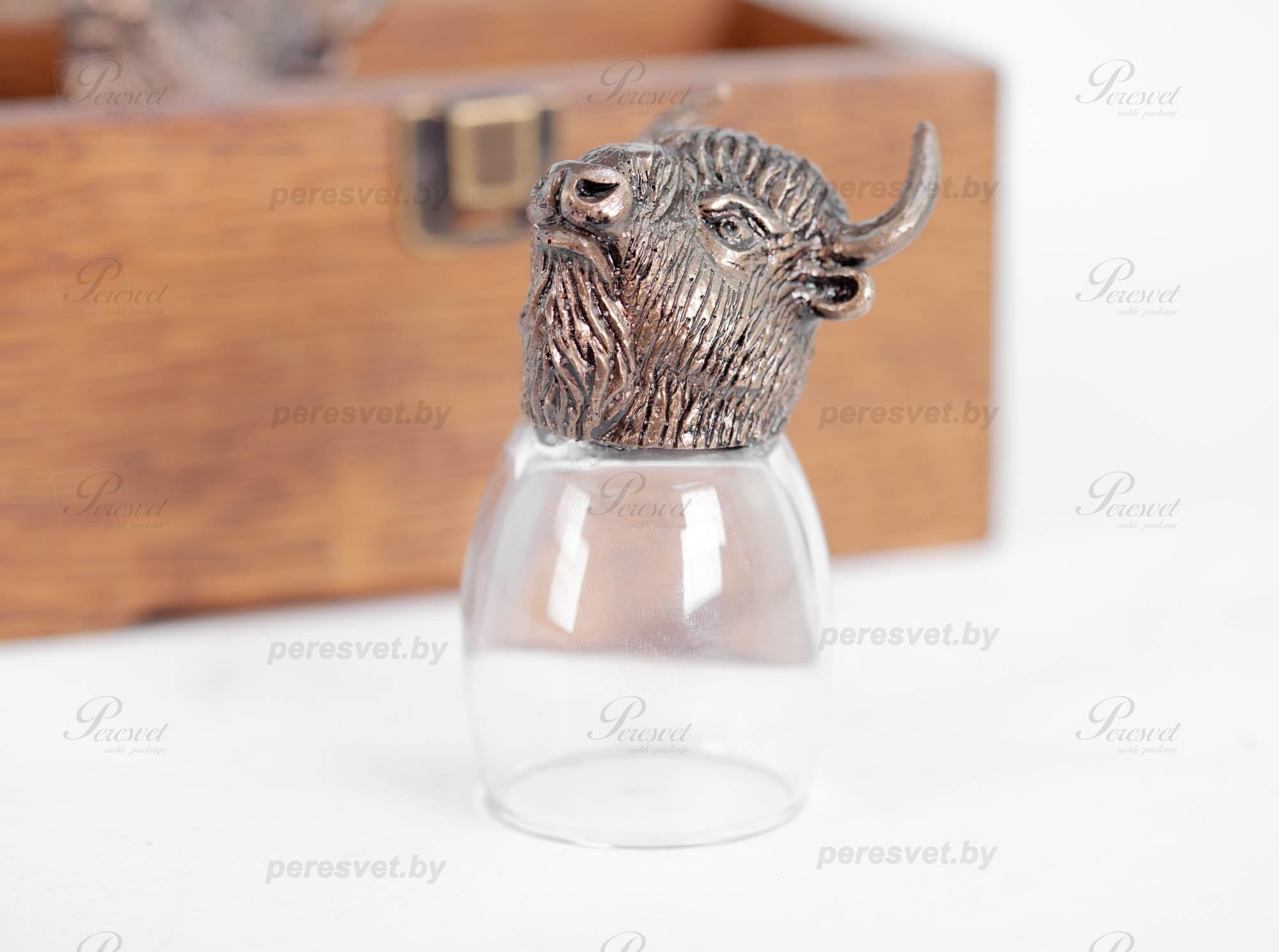 Рюмка перевертыш Зубр Premium бронза художественное литьё на peresvet.by