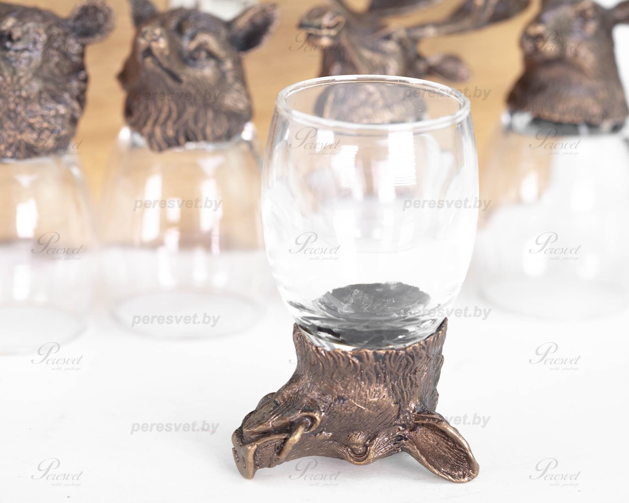 Рюмка перевертыш Кабан Premium бронза художественное литьё на peresvet.by