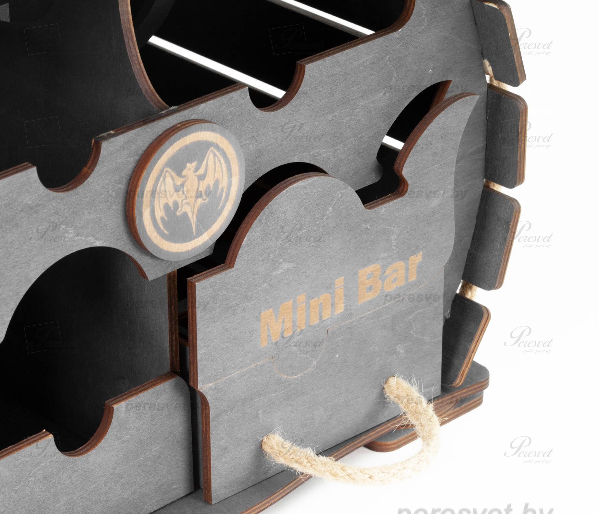 Настольный деревянный мини бар бочка На троих темное дерево на peresvet.by