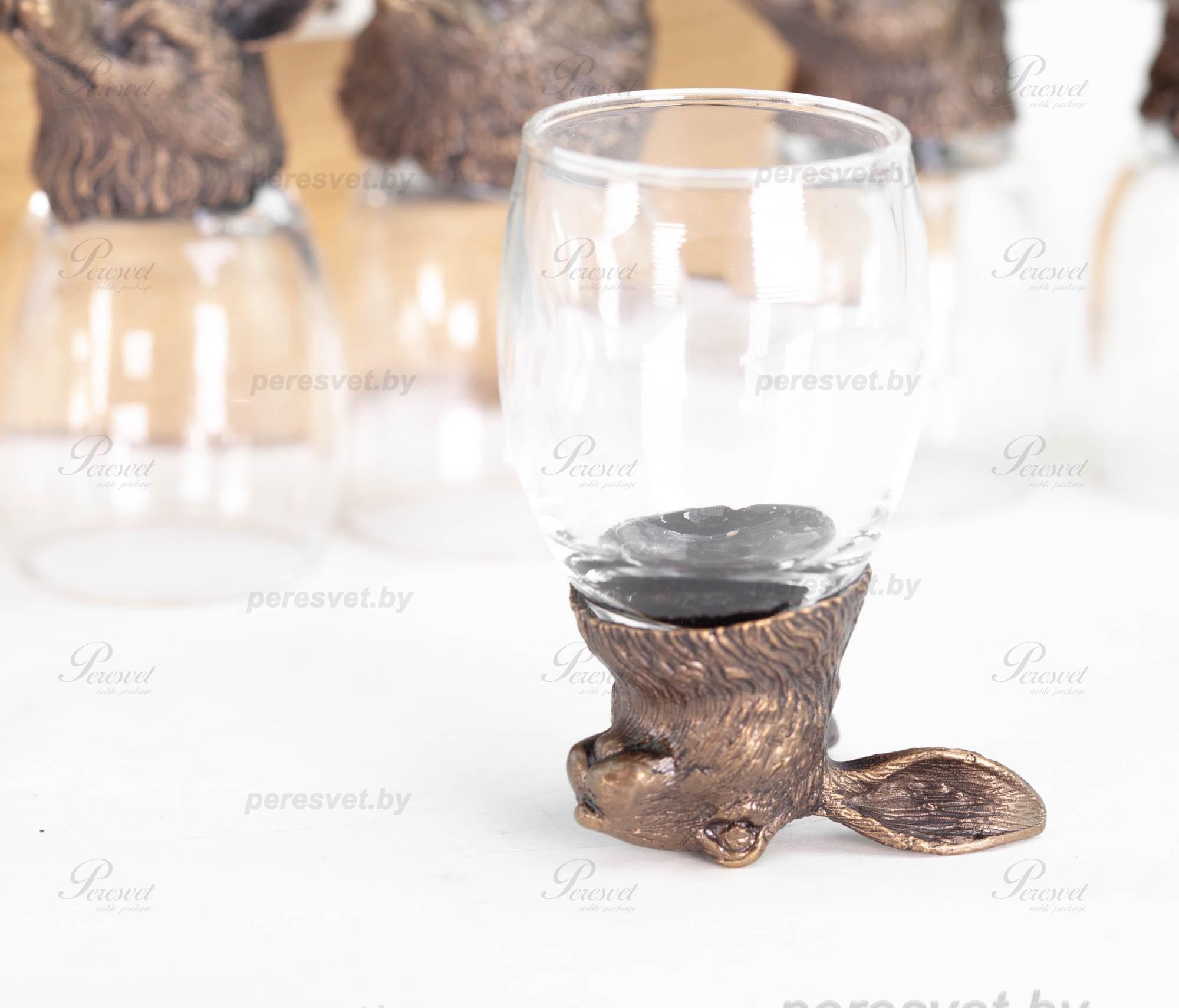 Рюмка перевертыш Заяц Premium бронза художественное литьё на peresvet.by