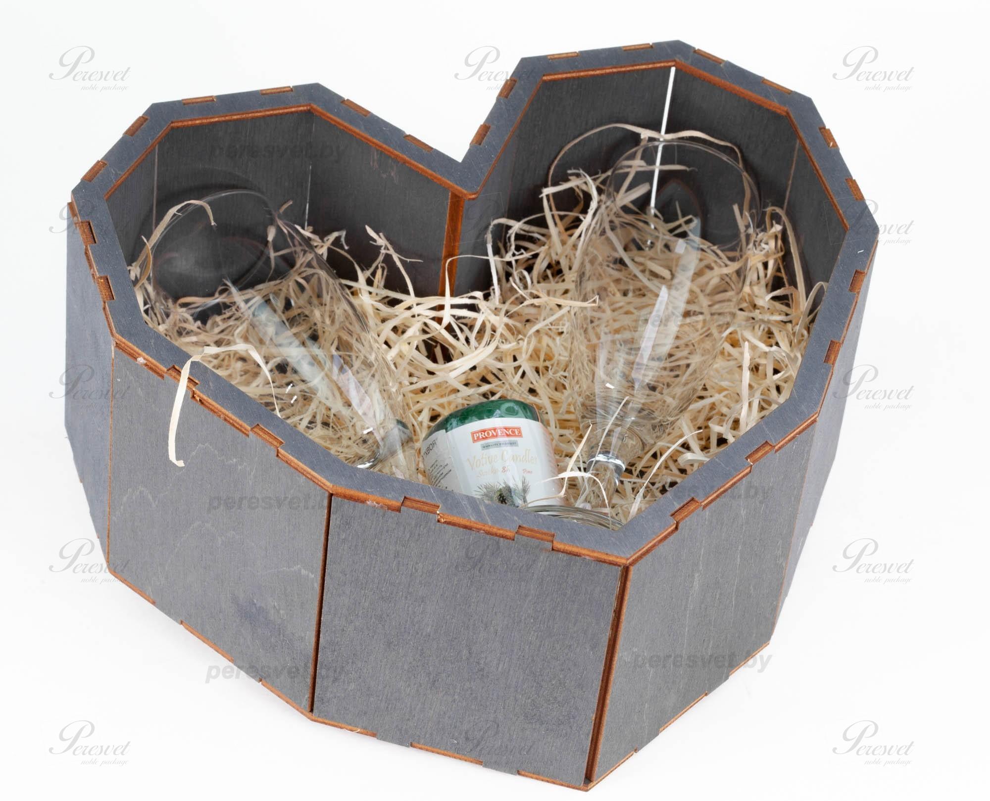 Набор подарочный с бокалами для шампанского и свечей темный на peresvet.by