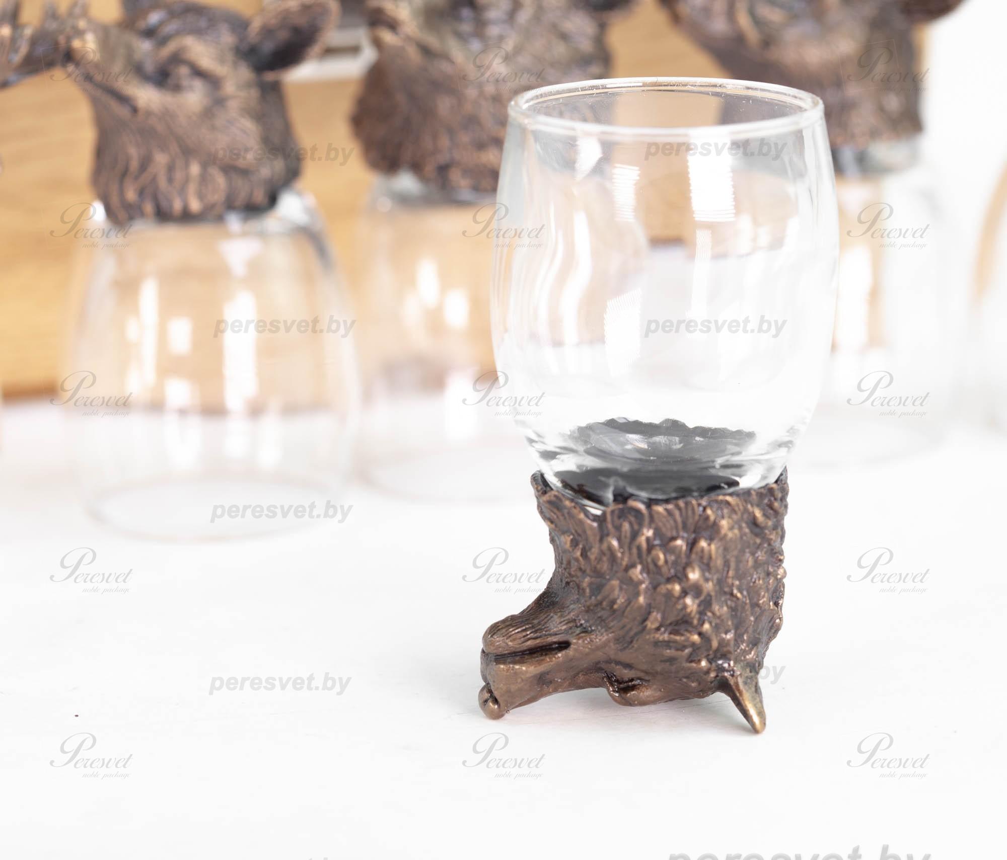 Рюмка перевертыш Волк Premium бронза художественное литьё на peresvet.by
