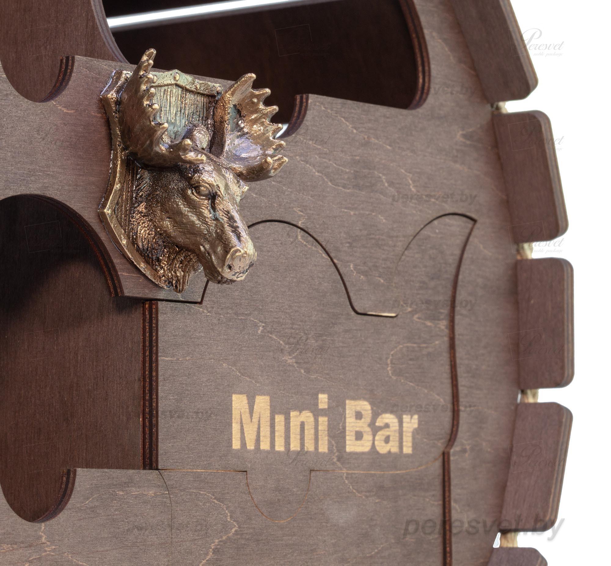 Мини бар бочка настольная шоколад золото с бронзовой головой на peresvet.by